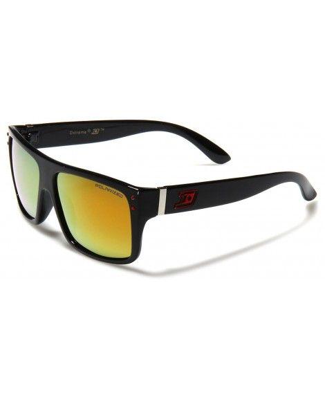aaa14c9c380 Dxtreme Men s Polarized Flat Top Sunglasses Mirror Lens - Black - Red -  C11252TMWB5