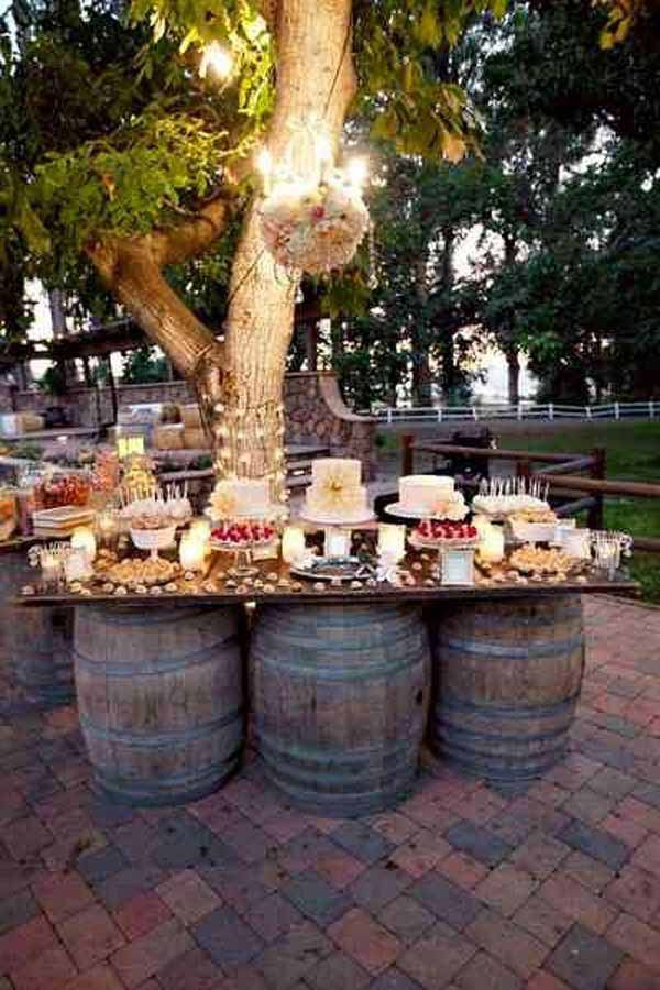 An Outdoor Bar Makes Entertaining So Easy Check Out These Awesome Built Ins And Creative Diy Ideas That Are Wine Wedding Wedding Desserts Wine Barrel Wedding