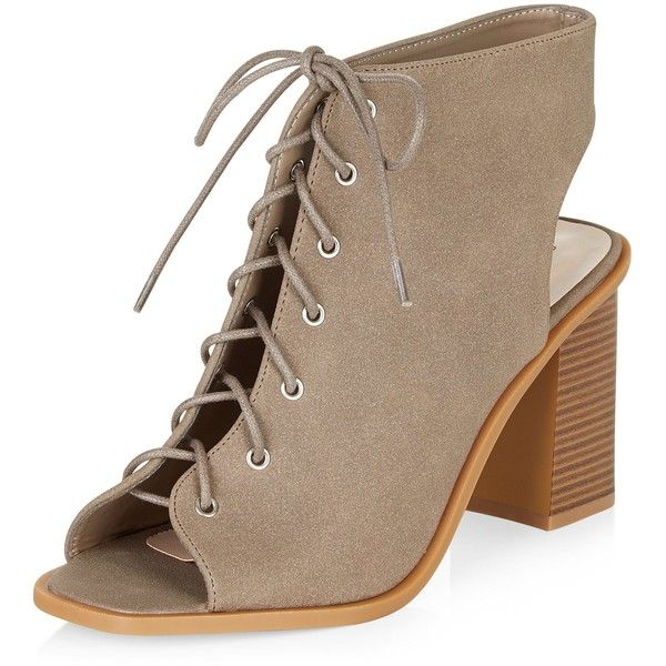 31e60e8daa5 New Look Wide Fit Light Brown Lace Up Peeptoe Block Heel Ankle Boots ( 36)  ❤ liked on Polyvore featuring shoes