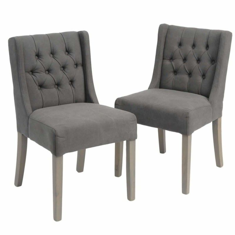 Clipper Mid Grey Low Back Button Dining Chair