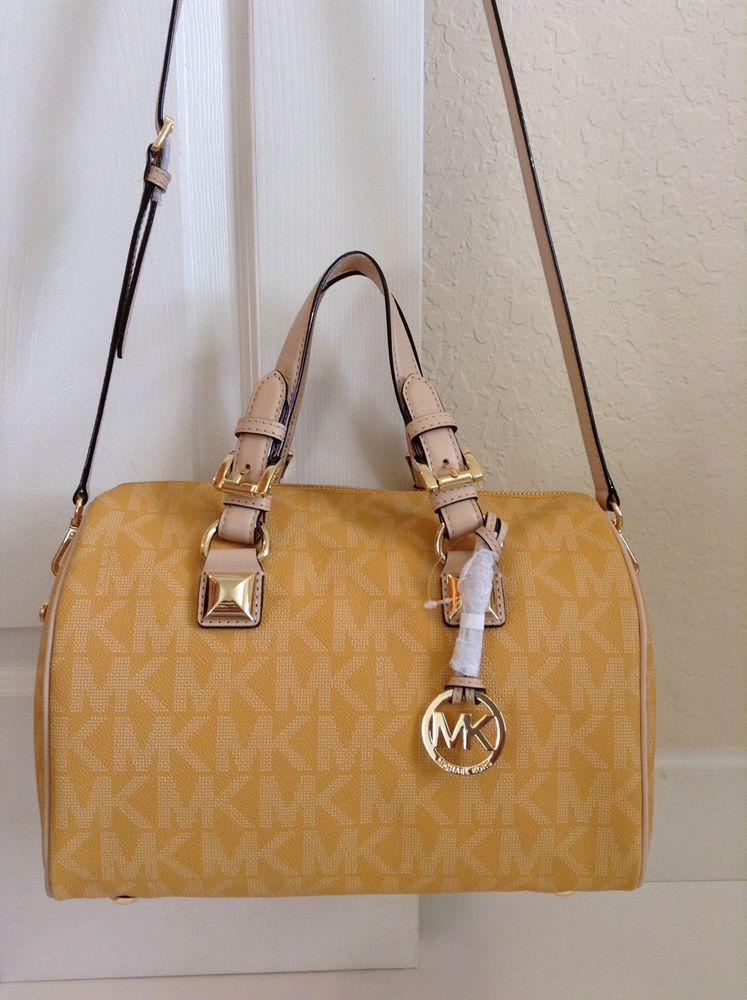 930cab0b4a1bd6 ... order michael michael kors grayson medium signature satchel sun yellow  michaelkors satchel 1f1f7 bea44
