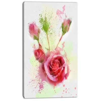 Design Art 'Bloomy and Budding Red Roses' Painting Print on