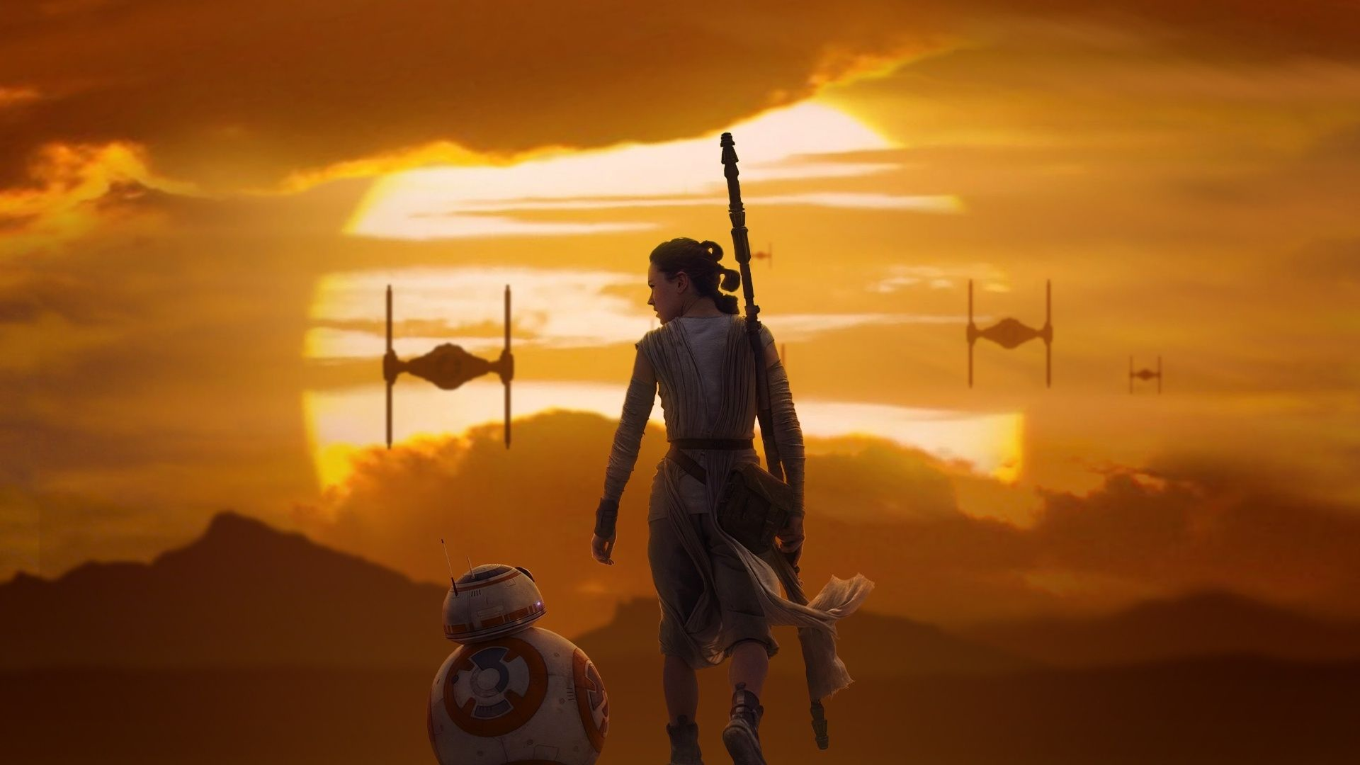 Rey Bb 8 Star Wars The Force Awakens Wallpapers Free Computer Desktop Wallpaper Star Wars Wallpaper Star Wars Background Rey Star Wars
