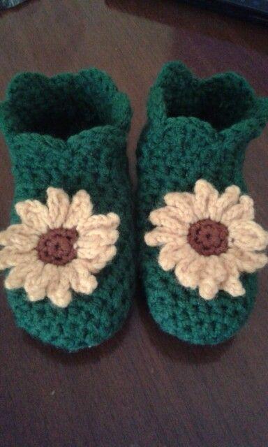 Crochet Sunflower Baby Sleepers Haken Babyschoentjes