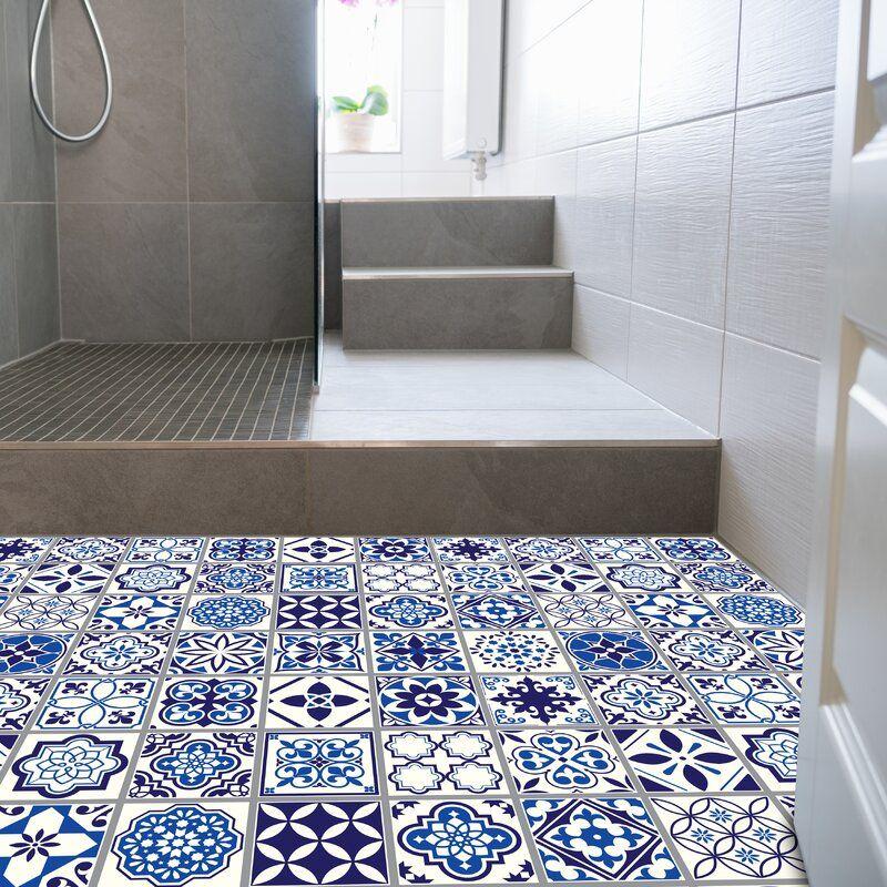 78 Blue And White Tile Ideas In 2021, Blue Bathroom Flooring