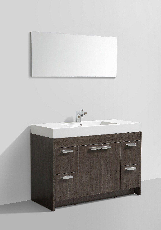 "Eviva Lugano 48"" Grey Oak Modern Bathroom Vanity with White Integrated Acrylic Sink"