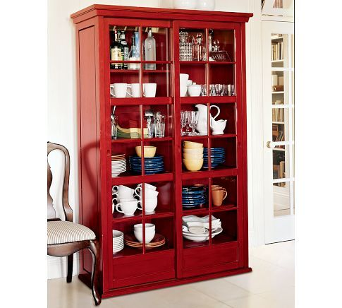 Exceptional Garrett Glass Cabinet, Ming Red   Contemporary   Bookcases Cabinets And  Computer Armoires   Pottery Barn