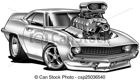 Line Drawing Car : Cartoon muscle car line drawing stock illustration '69