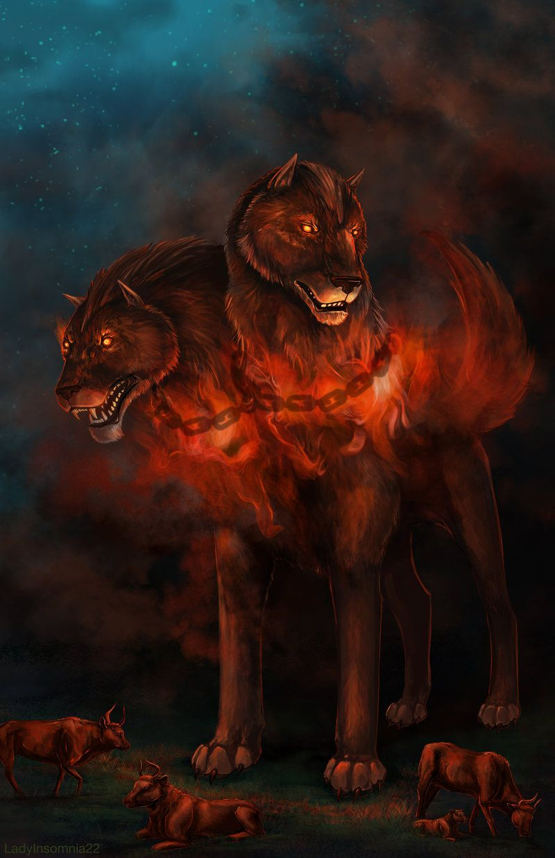 O Is For Orthrus, Two-headed Brother Of Cerberus, Guardian