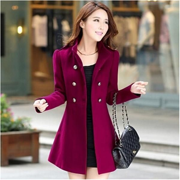 d923f6ba9f3f New Women Winter Lapel Long Coat Trench Parka Jacket Overcoat Outwear.  Online shopping a variety of best winter korean woolen ladies coat at  ladyindia.com.