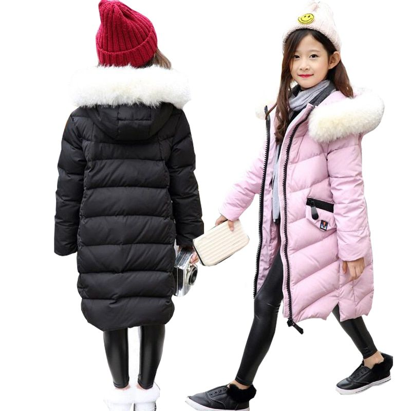2e8d50811f91 Girls Down Jackets Winter Jackets Girls Snowsuit Outerwear Big Fur Collar  Child Down Jackets overcoat hooded long Girls Warm