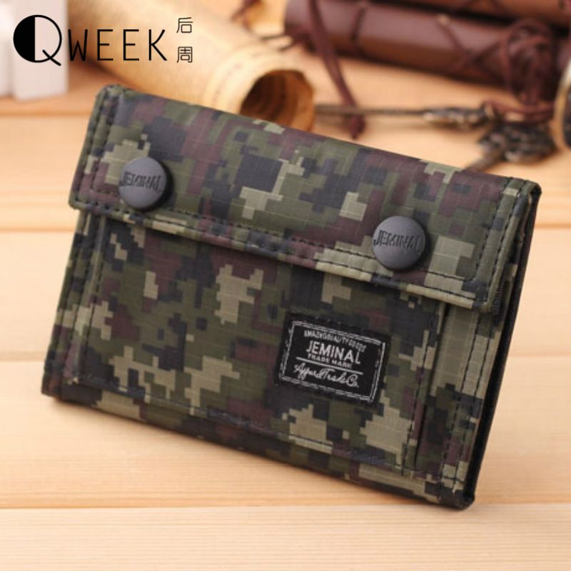 QWEEK Men Wallets 2017 Fashion Canvas Wear-resisting Camouflage ...