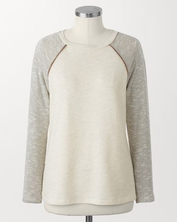 Shimmer sleeve sweatshirt - [K24392]