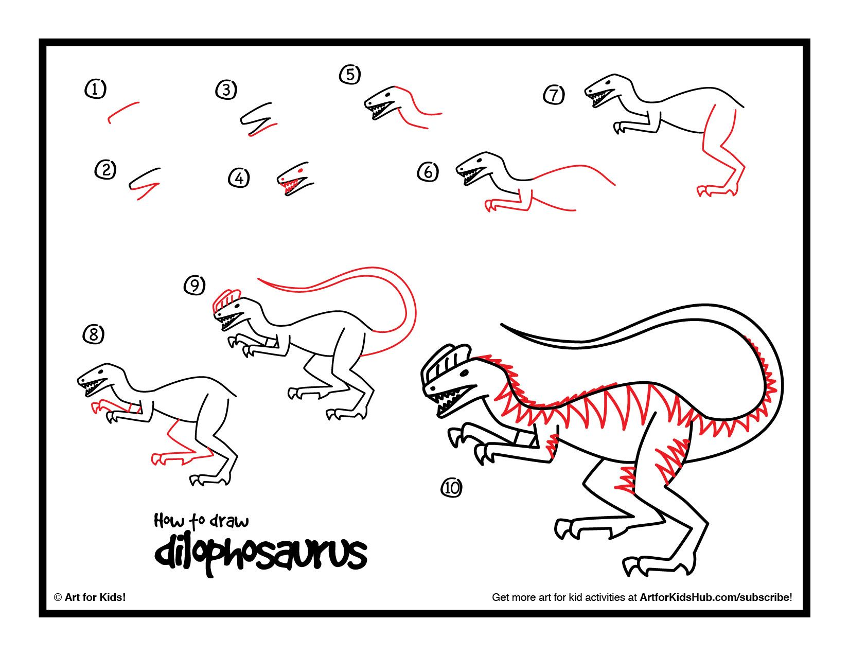 How To Draw A Dilophosaurus