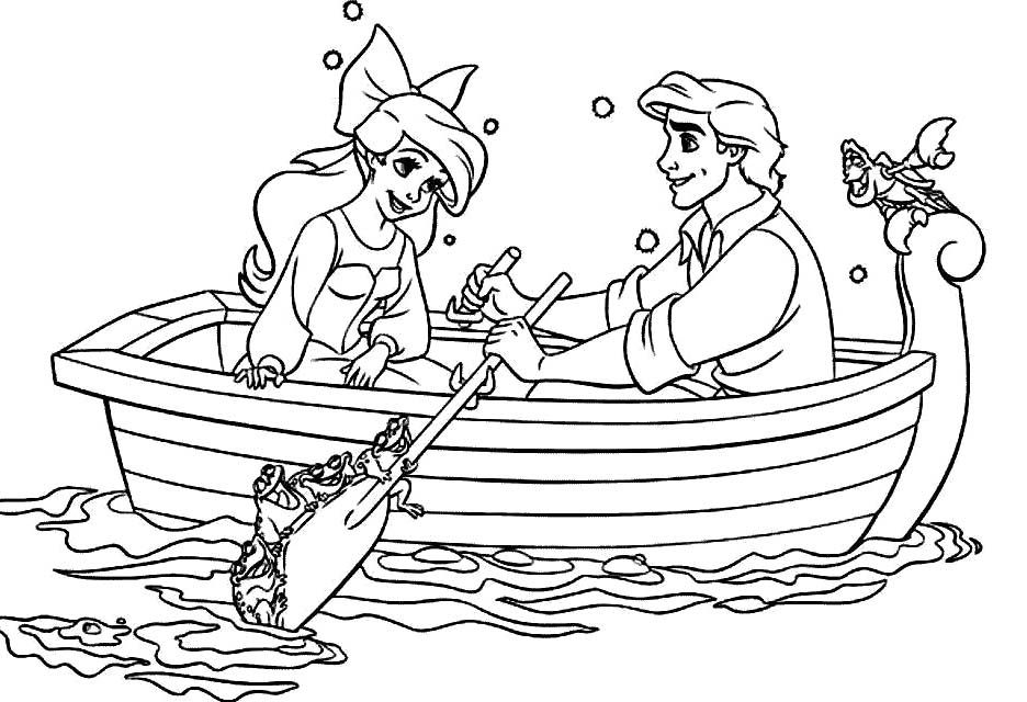 Princess Ariel Is A Boat Ride With Eric Coloring Pages Princess