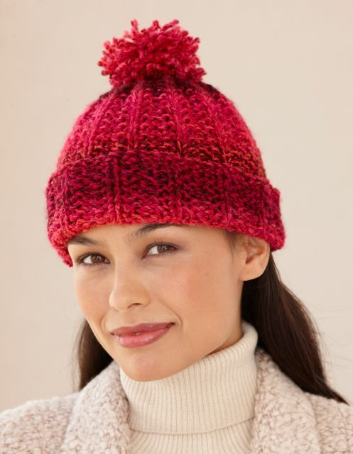 gorro de tricô vermelho com pompom | Tejidos | Pinterest | Gorros ...