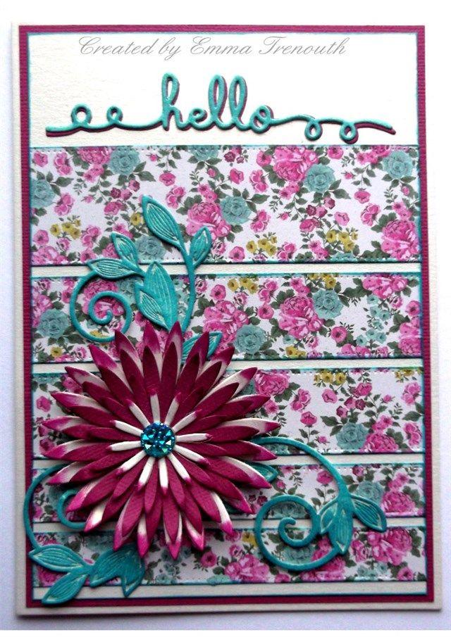 Hello card, MME Kate & Co papers, heartfelt aster flower, spellbinders romantic vine & sentiment