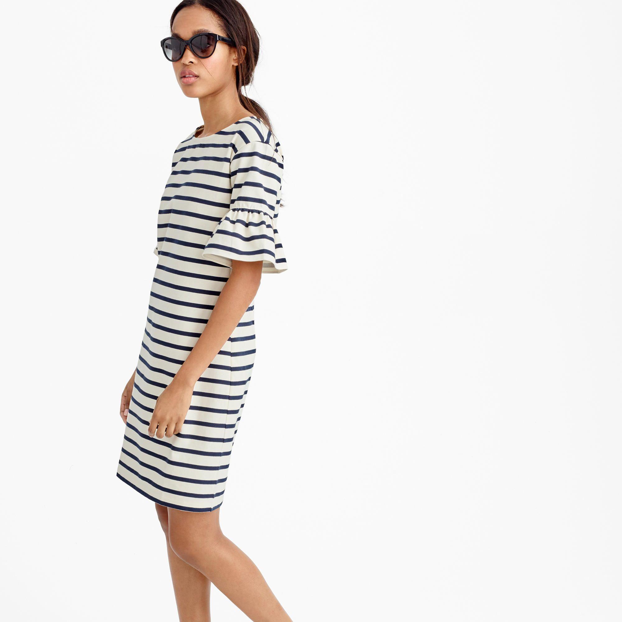 Ruffled bell-sleeve shift dress in stripe : day | J.Crew | Fashion ...