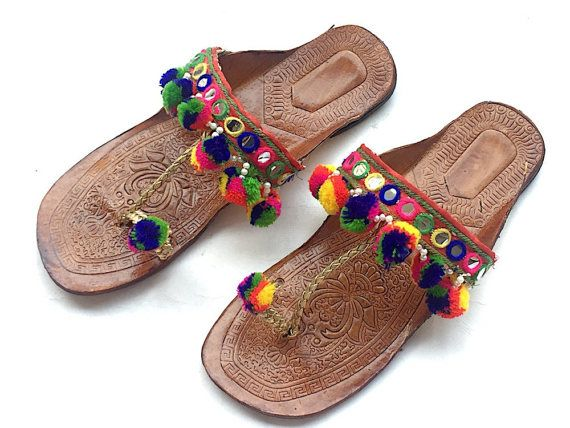 d42340a15544 Bohemian Style Multi Color Kolhapuri Chappals with Pom Pom Balls and  Mirrors Women Flats Women Sandals Ethnic Indian Flip Flops