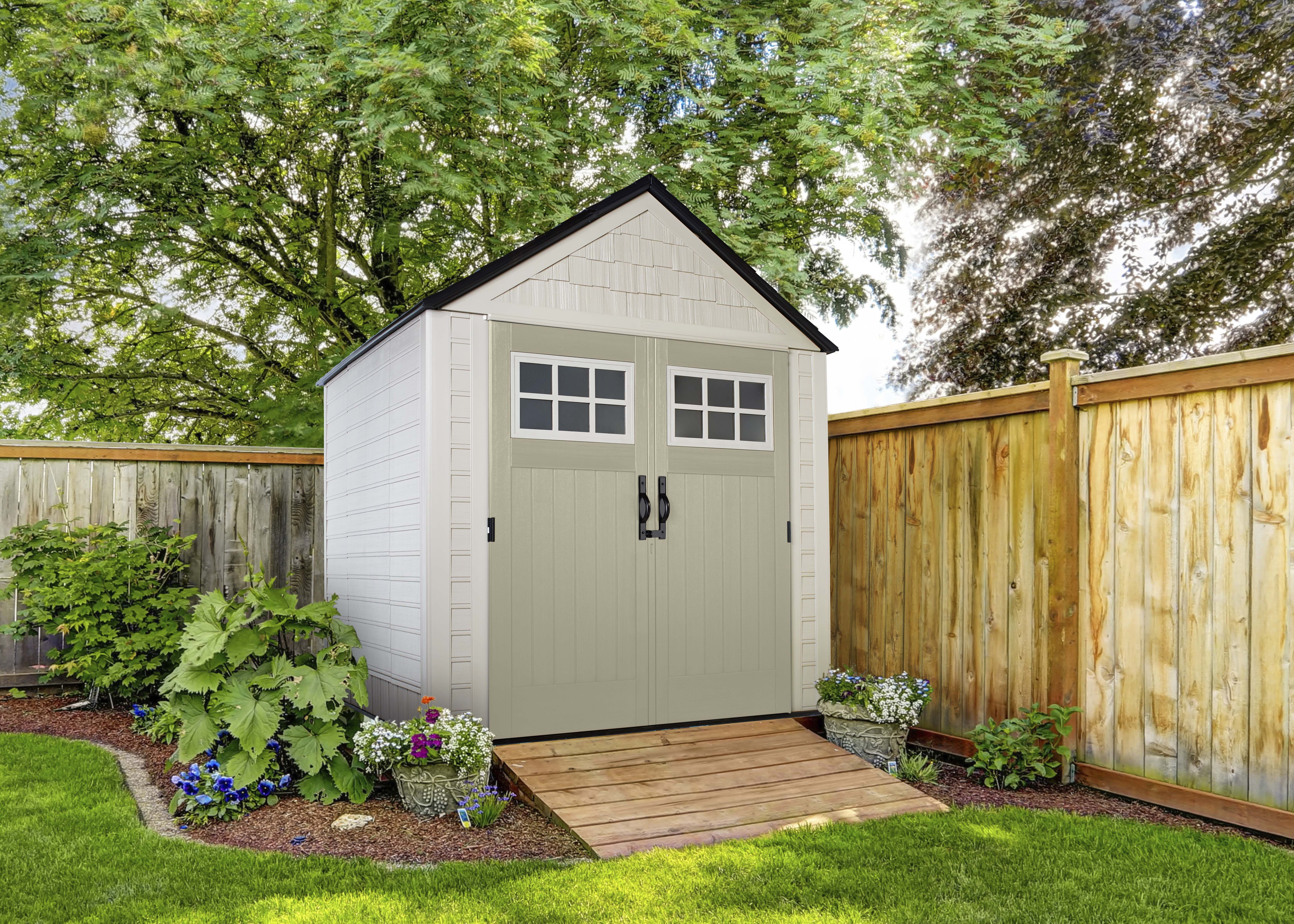 7 X 7 Outdoor Shed Shed Landscaping Outdoor Sheds Backyard Sheds