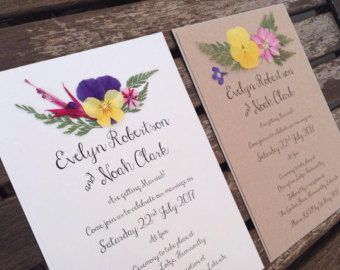 Floral Wedding Invitation Boho Rustic Invites With Real Pressed