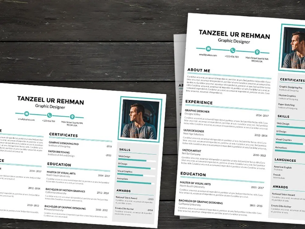 Free Landscape Portrait Resume Template With Simple Design Resume Freeresumetemplate Resumetemplate Jobs Cu Resume Template Resume Template Free Resume