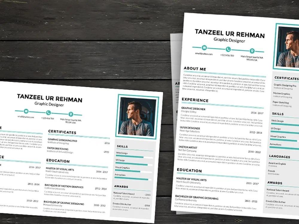 Landscape And Portrait Resume Template Resume Design Creative Resume Template Minimalist Resume Template