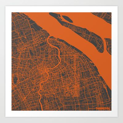 Shanghai Map #2 Art Print by Map Map Maps - $18.00---------------------------If you like my work, you can folllow my Facebook account : https://www.facebook.com/MapMapMaps