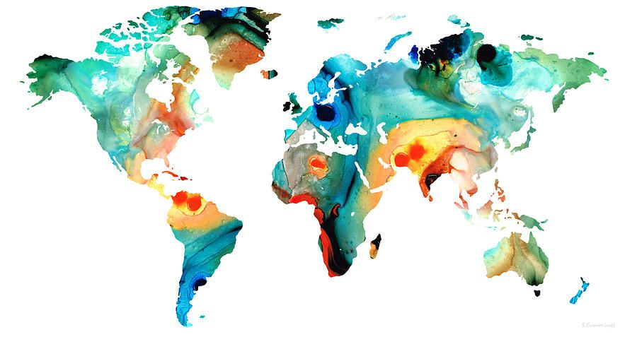 Worldmaps maps map of the world 11 colorful abstract art by sharon worldmaps maps map of the world 11 colorful abstract art by sharon cummings gumiabroncs Images