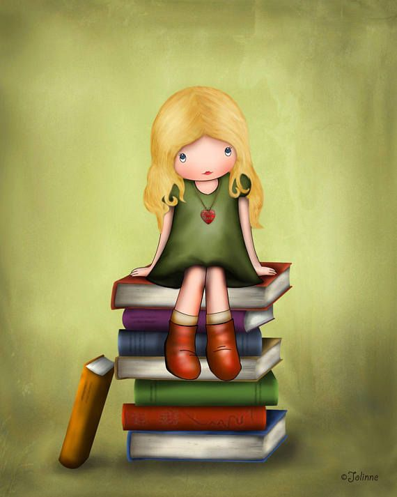 Children\'s Book Art Library Wall Decor Girls Illustration Girl on ...