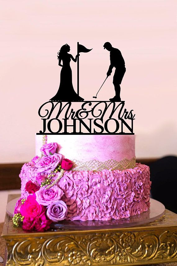 Golf Wedding Cake Topper Bride and Groom Playing Golf