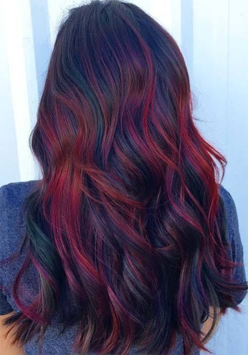 Red Hair Purple Tips Google Search