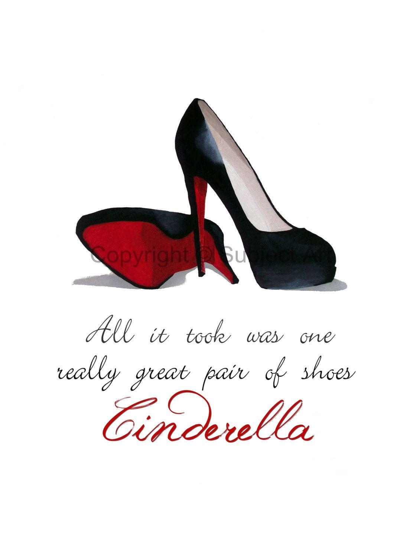 7d6889d7dc4 CHRISTIAN LOUBOUTIN Black Shoes Art Print Cinderella by SubjectArt