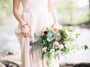 soft pink wedding bouquet - photo by Loft Photography