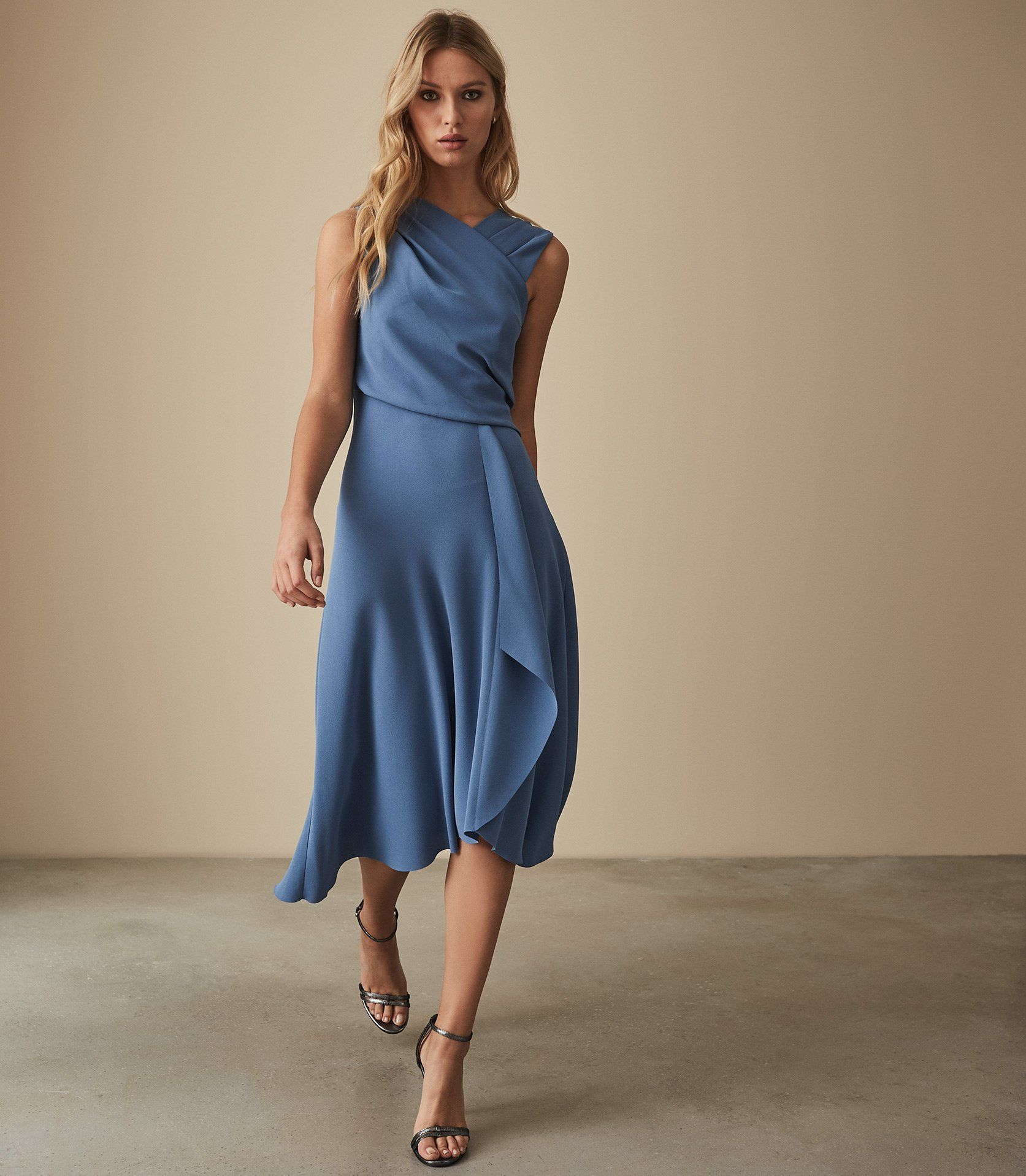 the best top-rated genuine compare price Reiss Marling Wrap Front Midi Dress, Mid Blue in 2019 ...