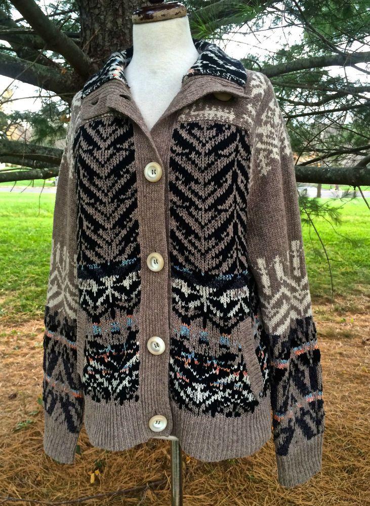 NWT Free People taupe black brown tan cardigan sweater coat funnel ...