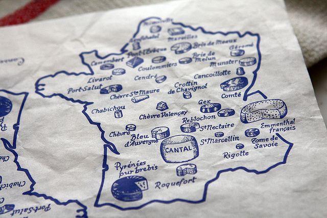 cheese map of France by David Lebovitz, via Flickr