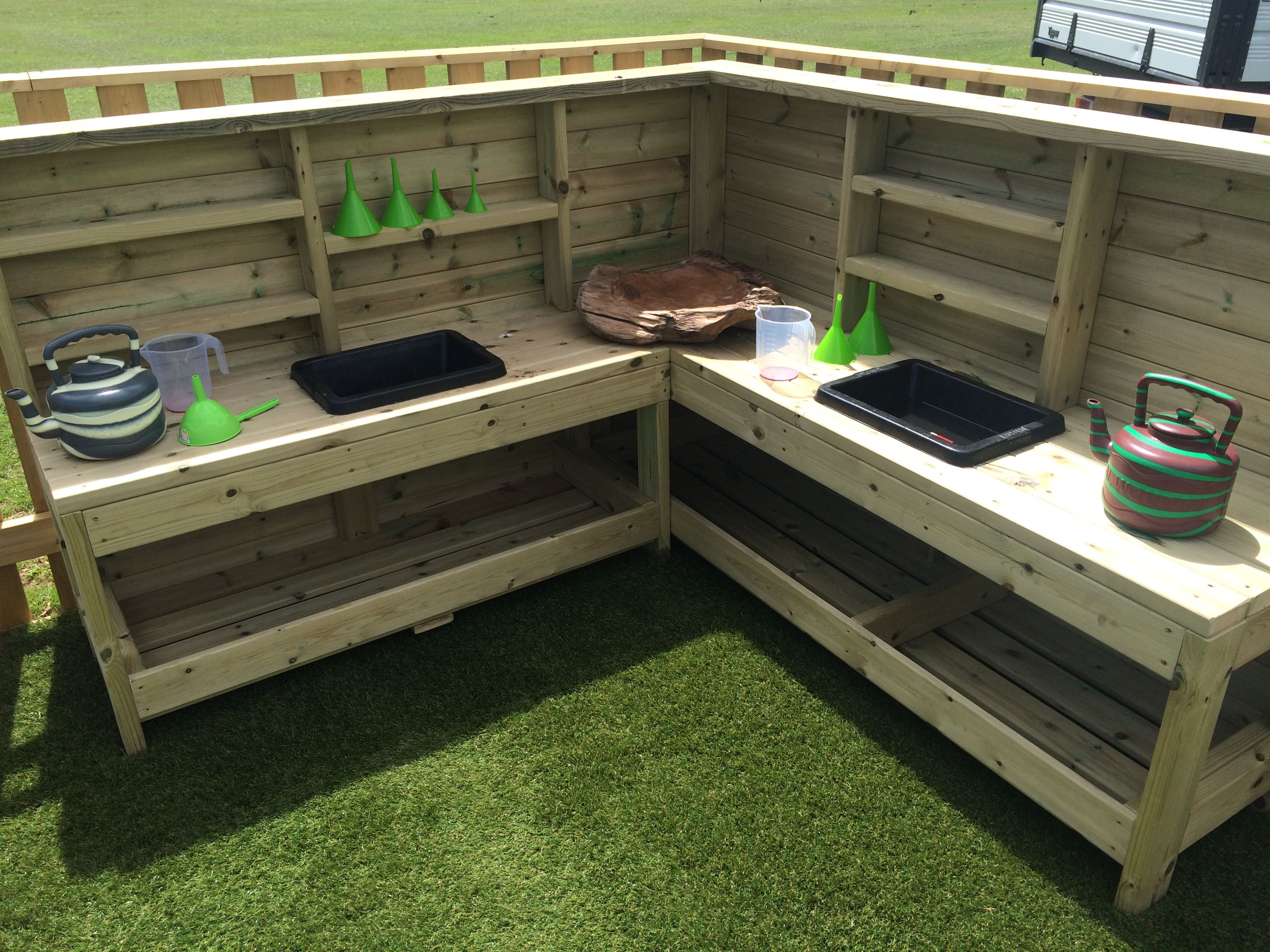Timber L Shaped Mud Kitchen Outdoor Cooking Area Mud Kitchen Outdoor Cooking Spaces