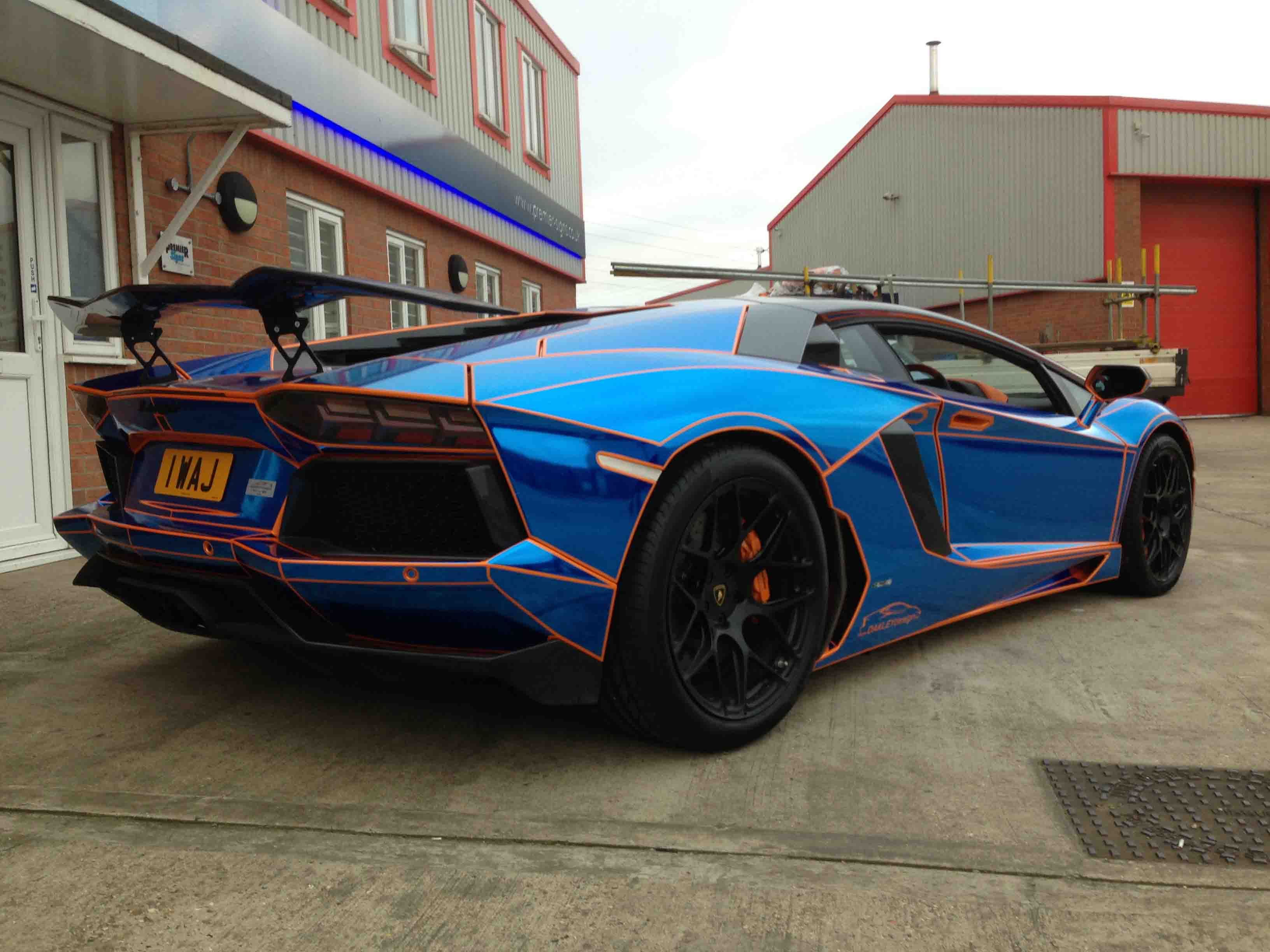 blue chrome tron style wrap by premier signs to orange oakley design lamborghini aventador lp760. Black Bedroom Furniture Sets. Home Design Ideas