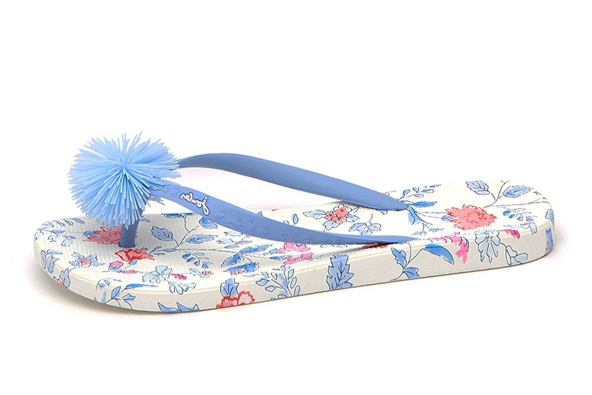 3369ea2d4 Joules Flip Flops White Sea Air Ditsy Blue Floral Pom Pom Sandals ...