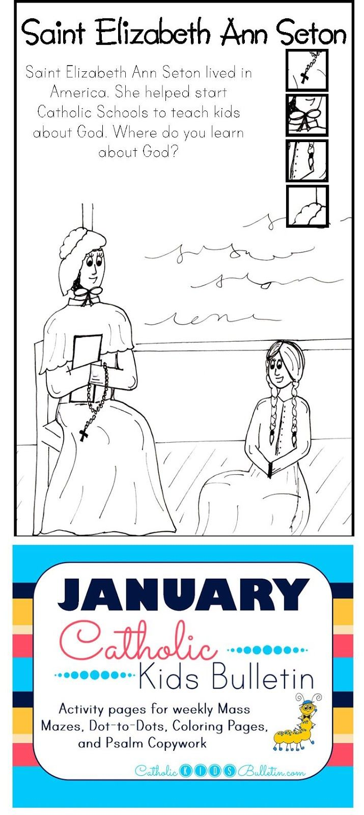 FREE Catholic Mass Bulletins and Coloring Pages! Saint Elizabeth Ann ...