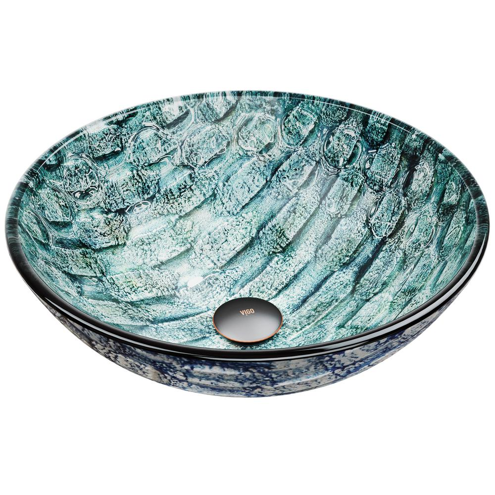Vigo Oceania Handmade Glass Round Vessel Bathroom Sink In