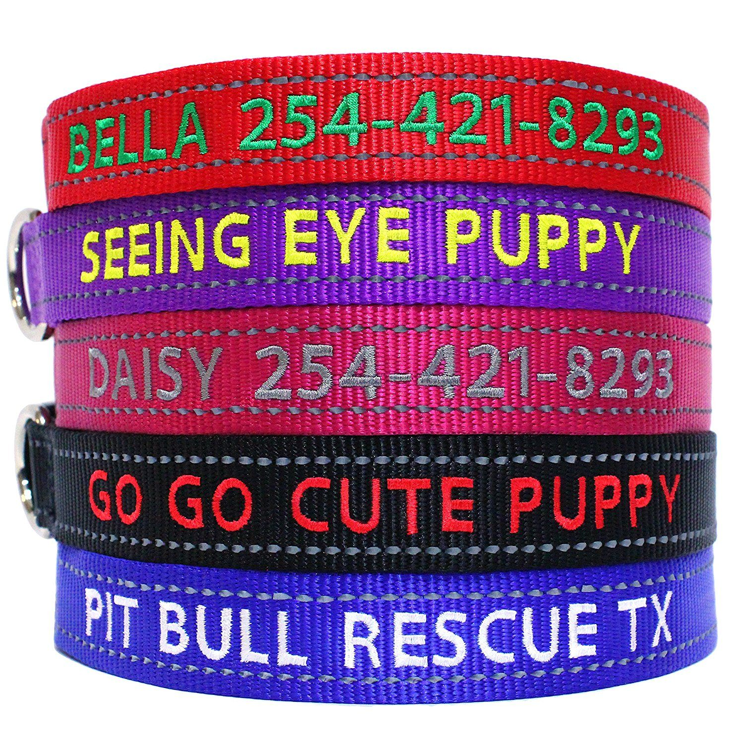 Go go cute puppy reflective personalized dog collars