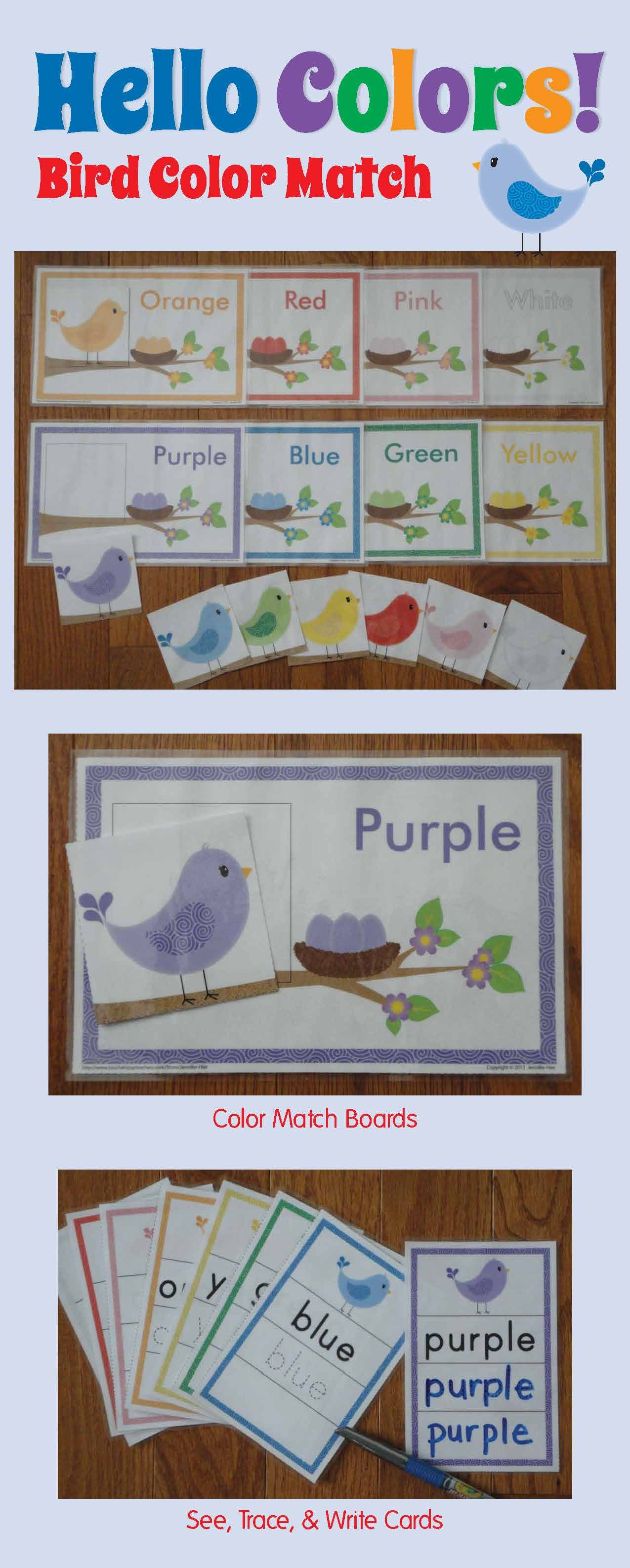 Color Match Activity Spring Bird Color Match