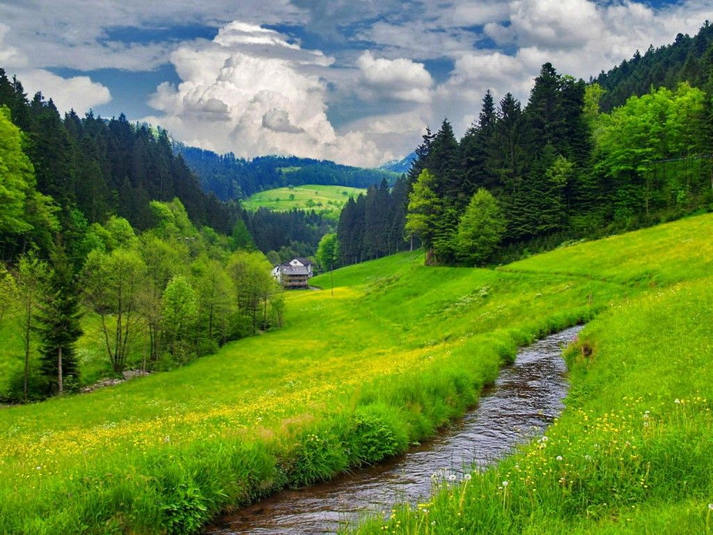 Sky Path Mountain Slope Summer House Cabin Trees Nature Walk Rest Grass Valley Greenery Hd Wallpapers Download Nature Summer Grass Greenery