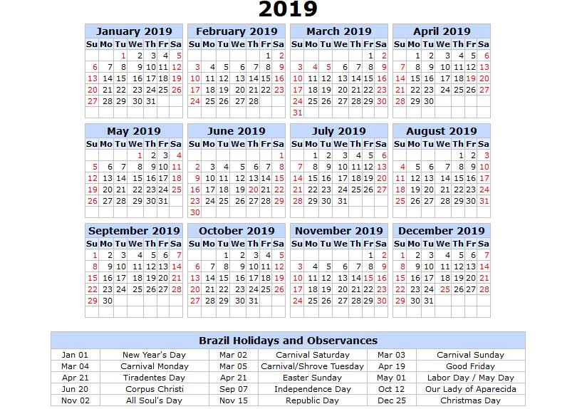 F1 2019 Calendario.Free Download 2019 Brazil Printable Calendars In Portuguese
