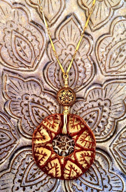 Sexy Bohemian Gypsy Ceramic Pendant Brass Necklace by California Soulshine Designs $46.00