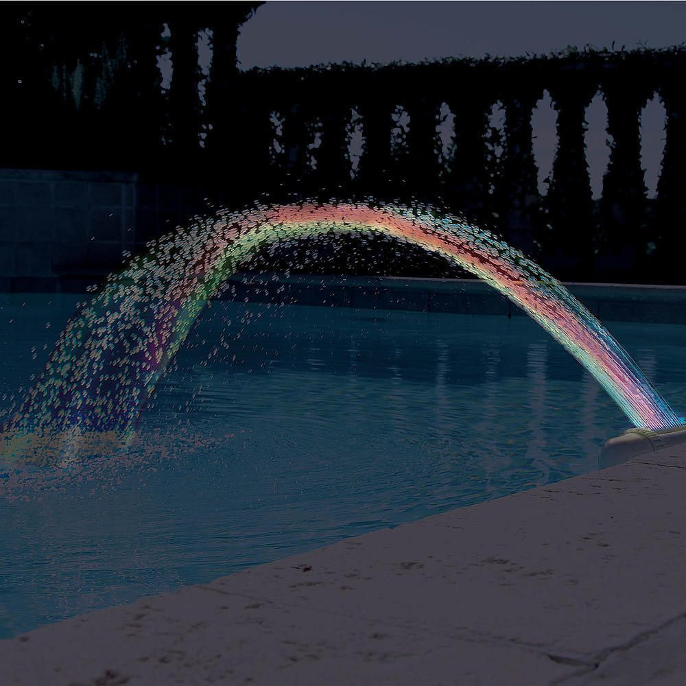 Outdoor waterfall water lights floating swimming inground for Swimming pool water features