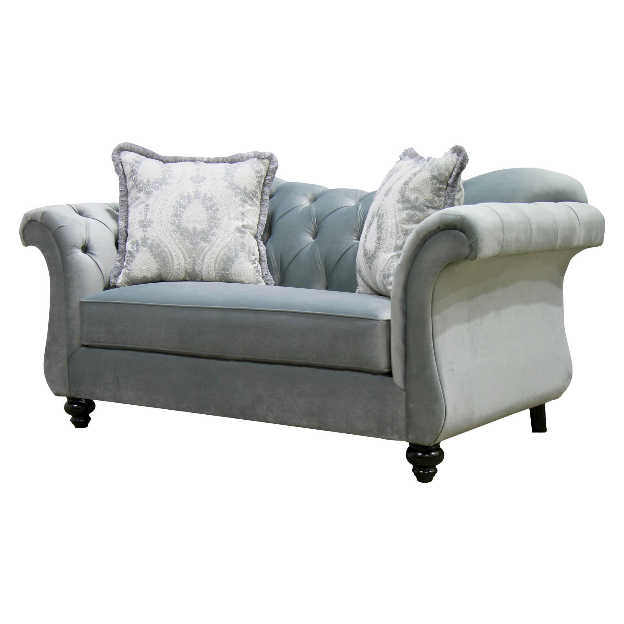 Alexandria victorian style love seat gray furniture of america