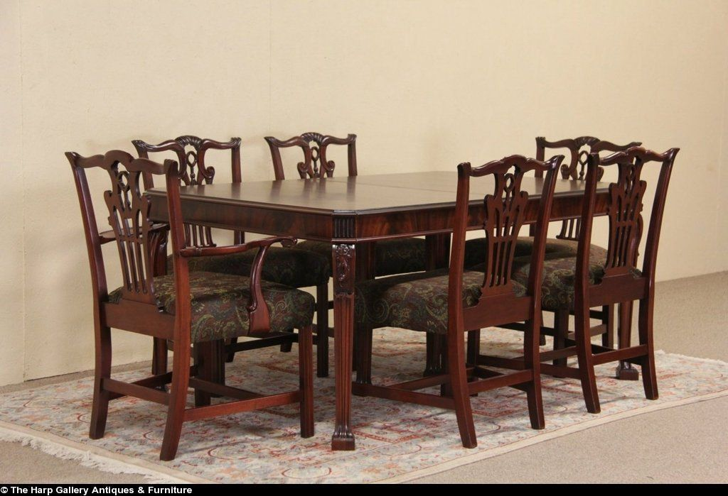 Georgian Traditional 1940 Vintage Dining Set Table 2 Leaves 6 Chairs Vintage Dining Set Dining Dining Set